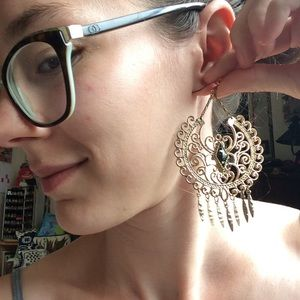 Urban Outfitters Jewelry - HOLD Big Bold Boho Swirl Earrings Golden Dangle